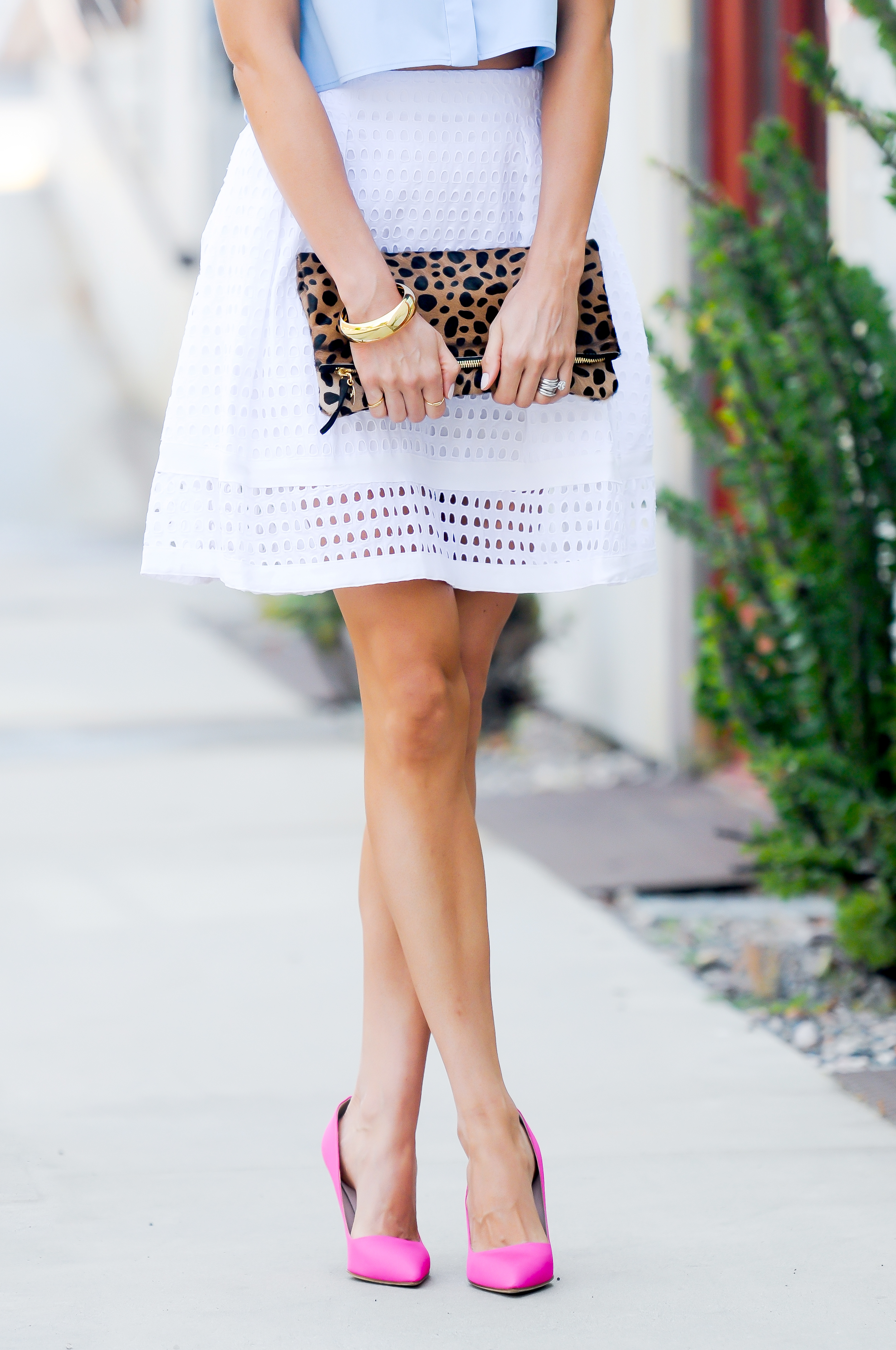 Button Down Crop Top and White Eyelet Skirt - Sapphire Diaries