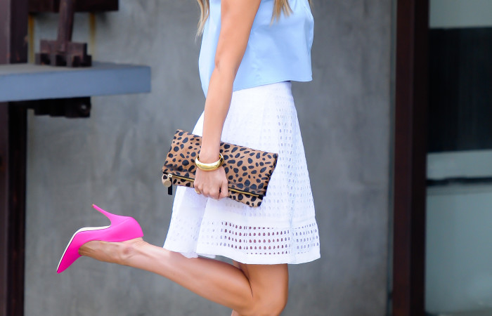 Button Down Crop Top and White Eyelet Skirt