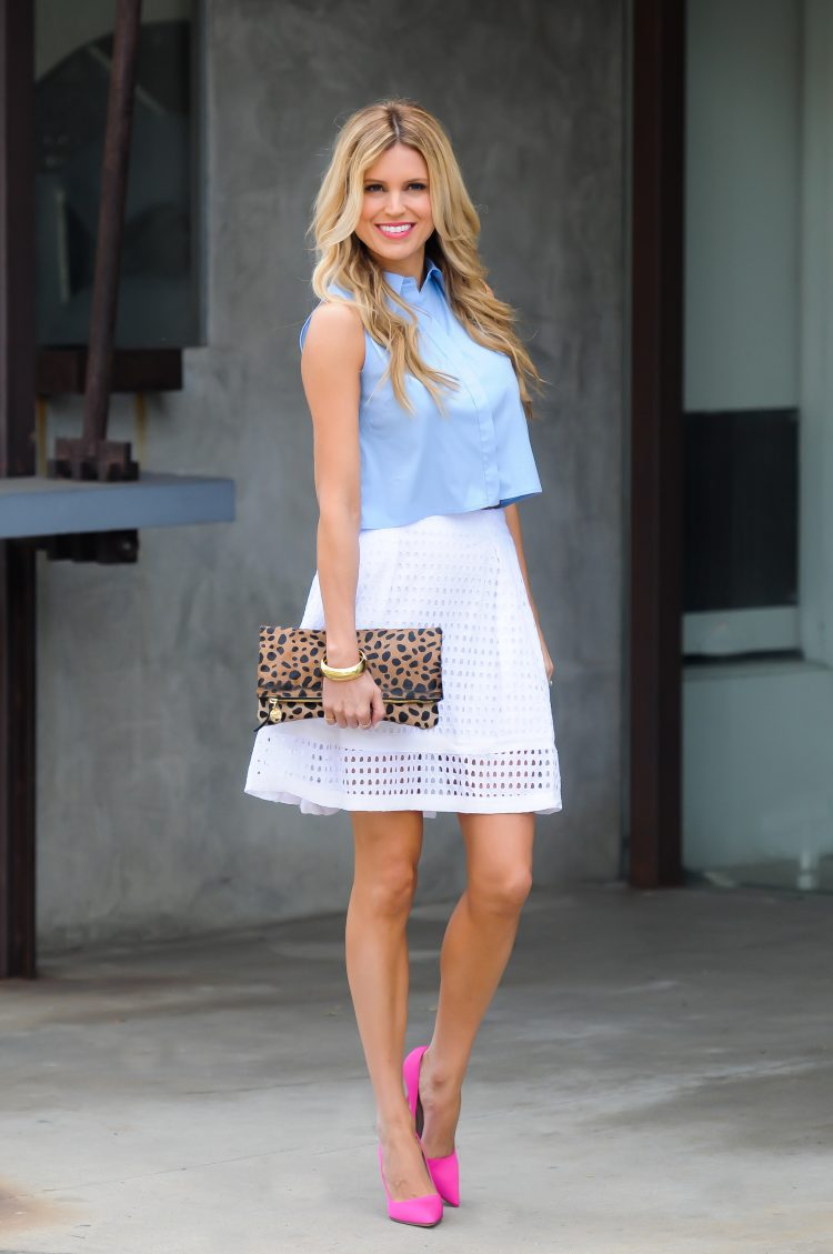 Button Down Crop Top and White Eyelet Skirt | Sapphire Diaries