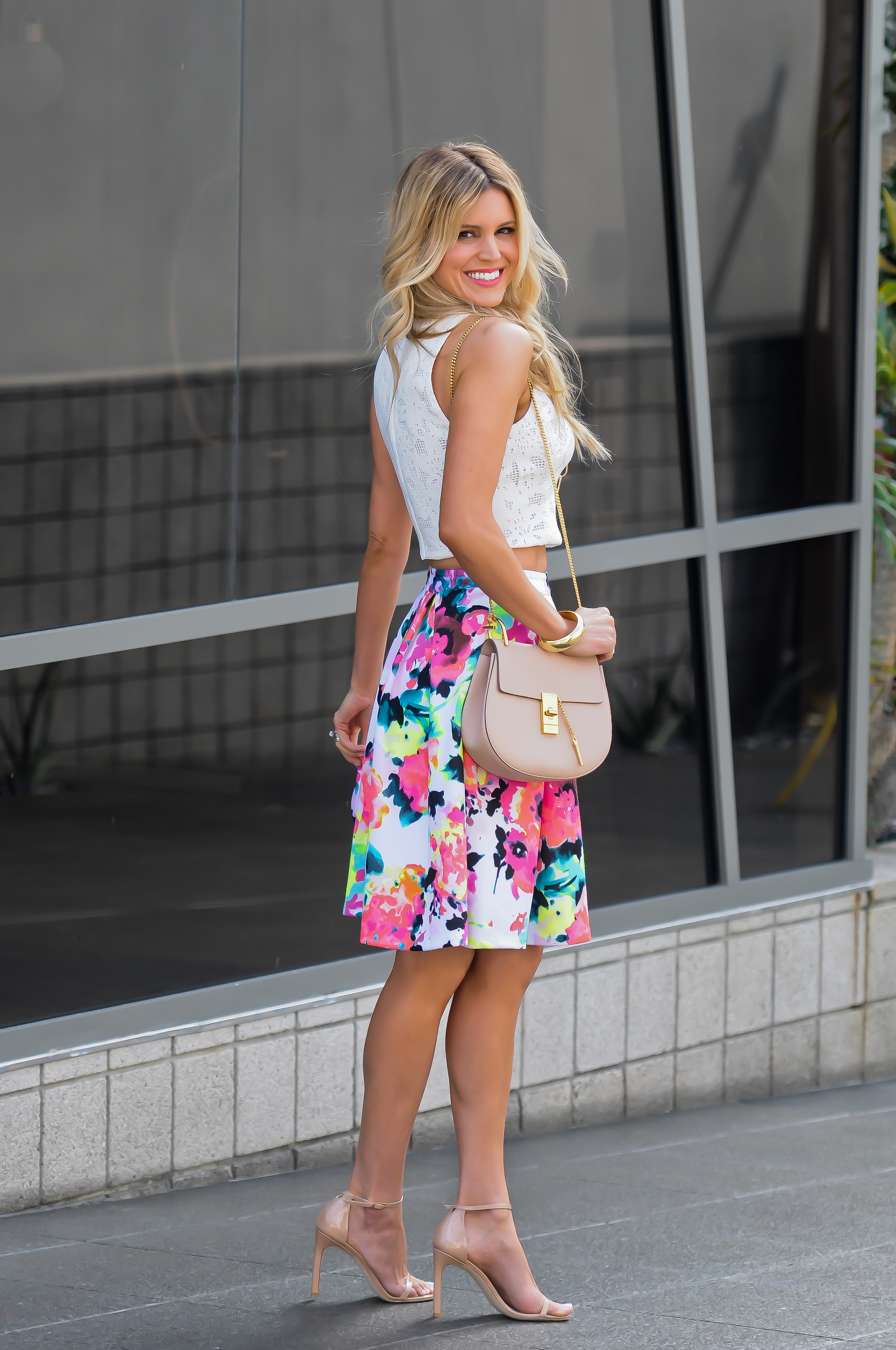 White Crop Top and Floral Skirt