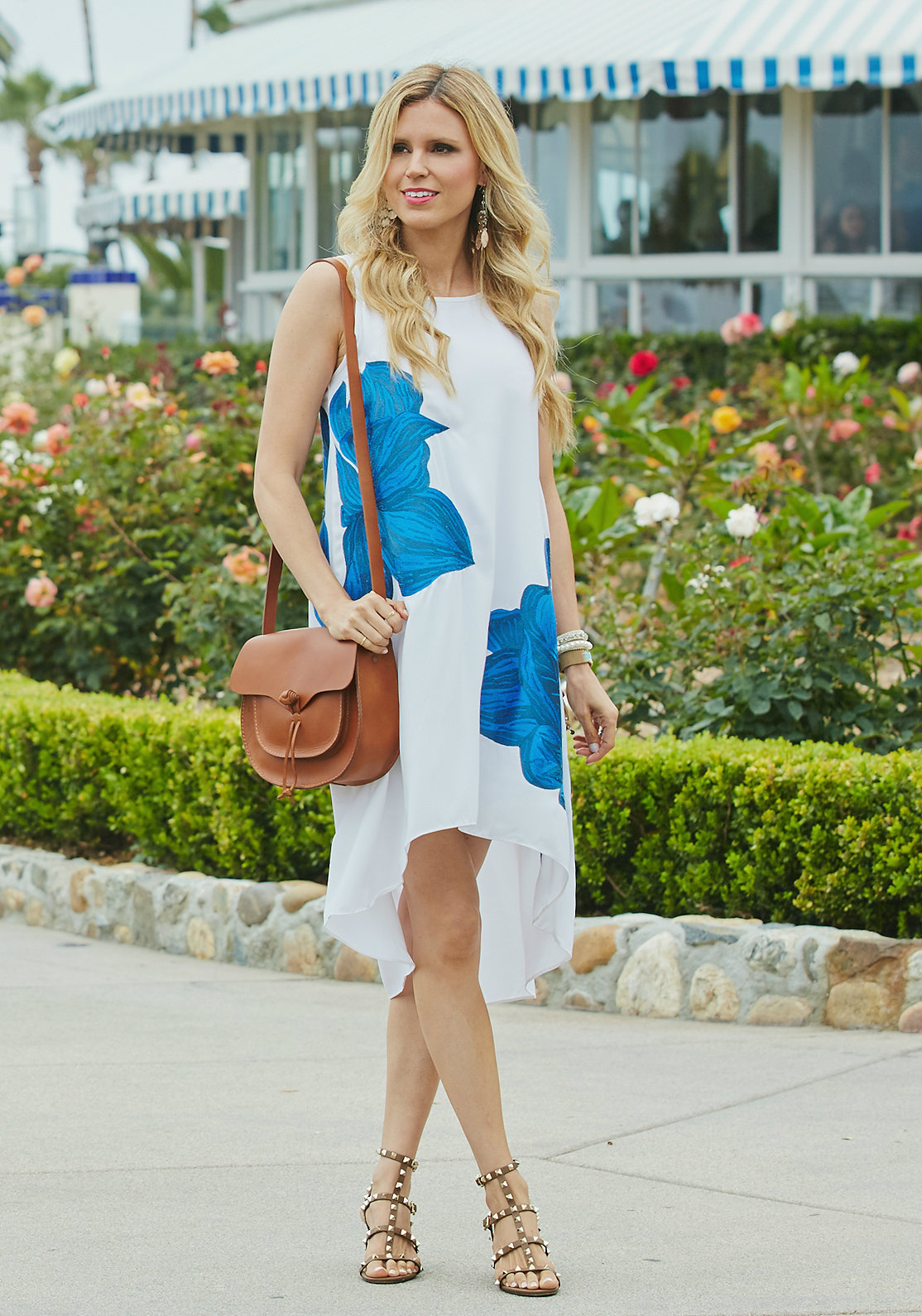Blue and White Floral Dress - Sapphire Diaries