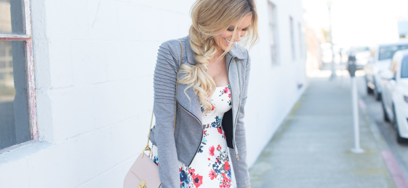 Floral Midi Dress & Moto Jacket