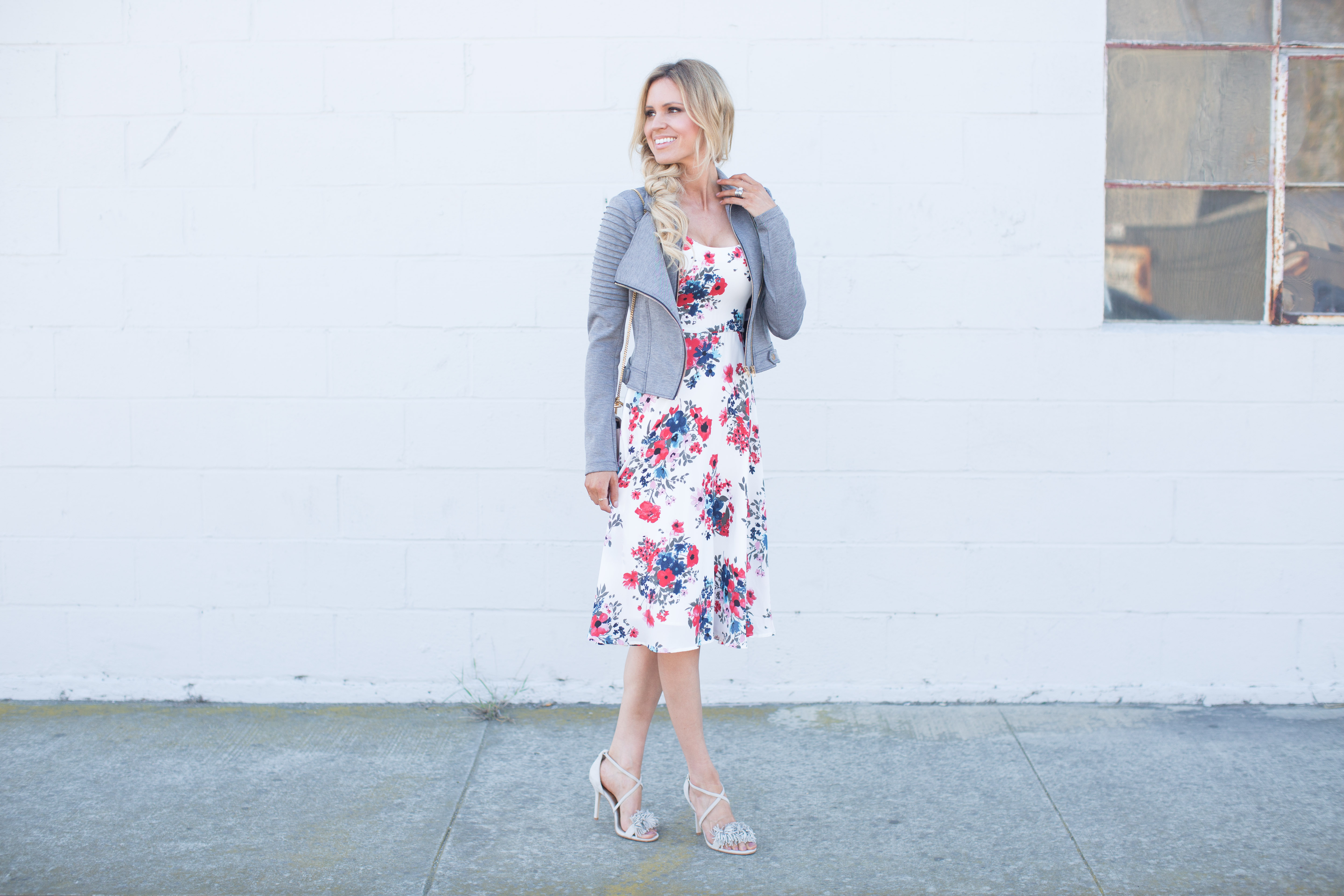 Floral Midi Dress & Moto Jacket | Sapphire Diaries