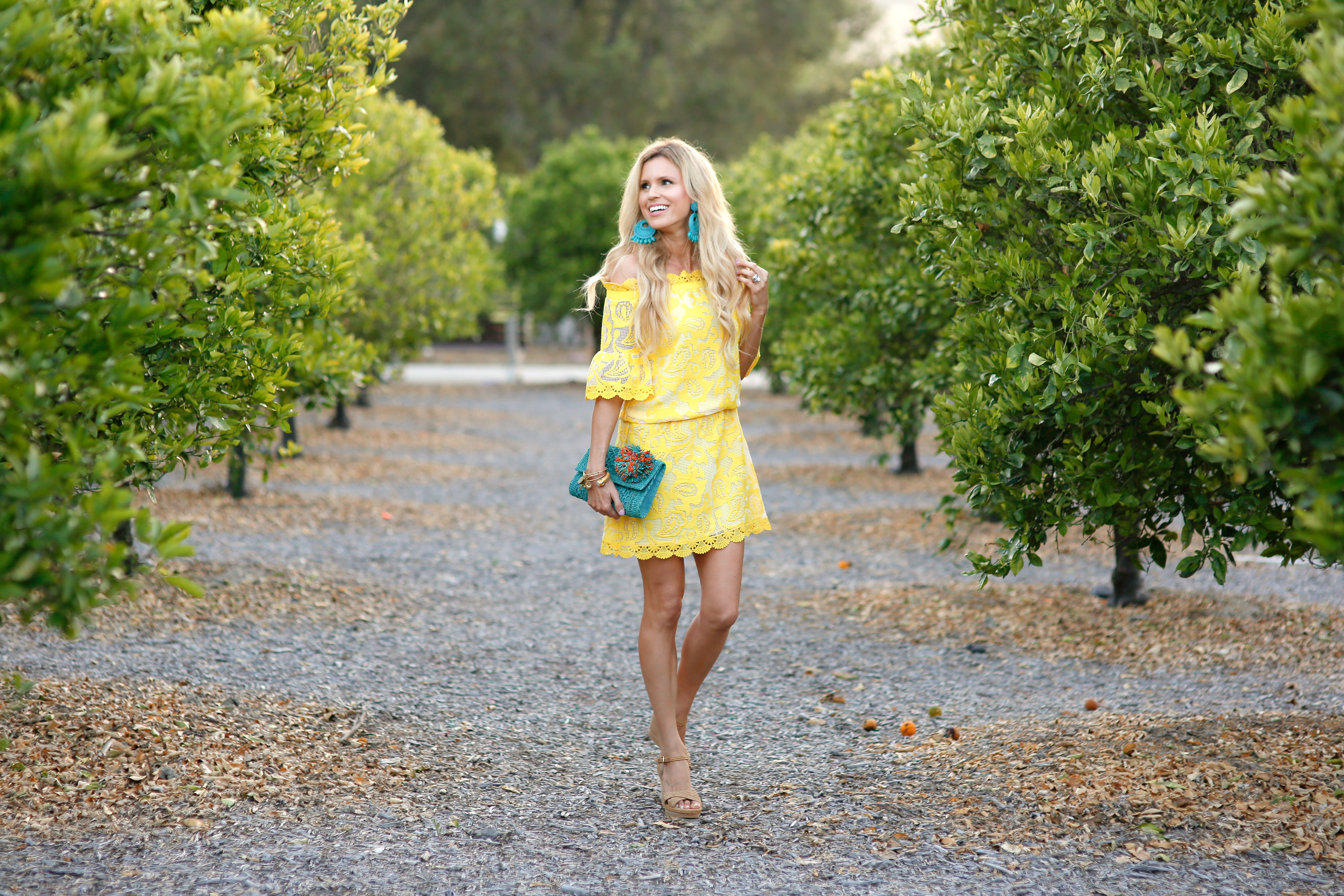 Yellow lace off the shoulder dress