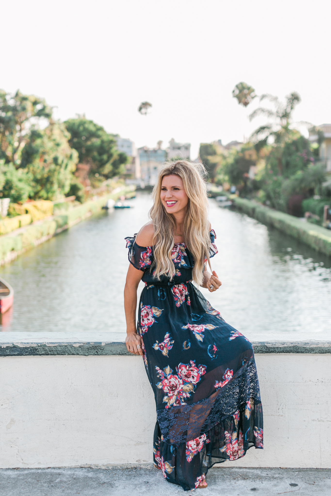Abercrombie Blue Floral Off Shoulder Maxi Dress