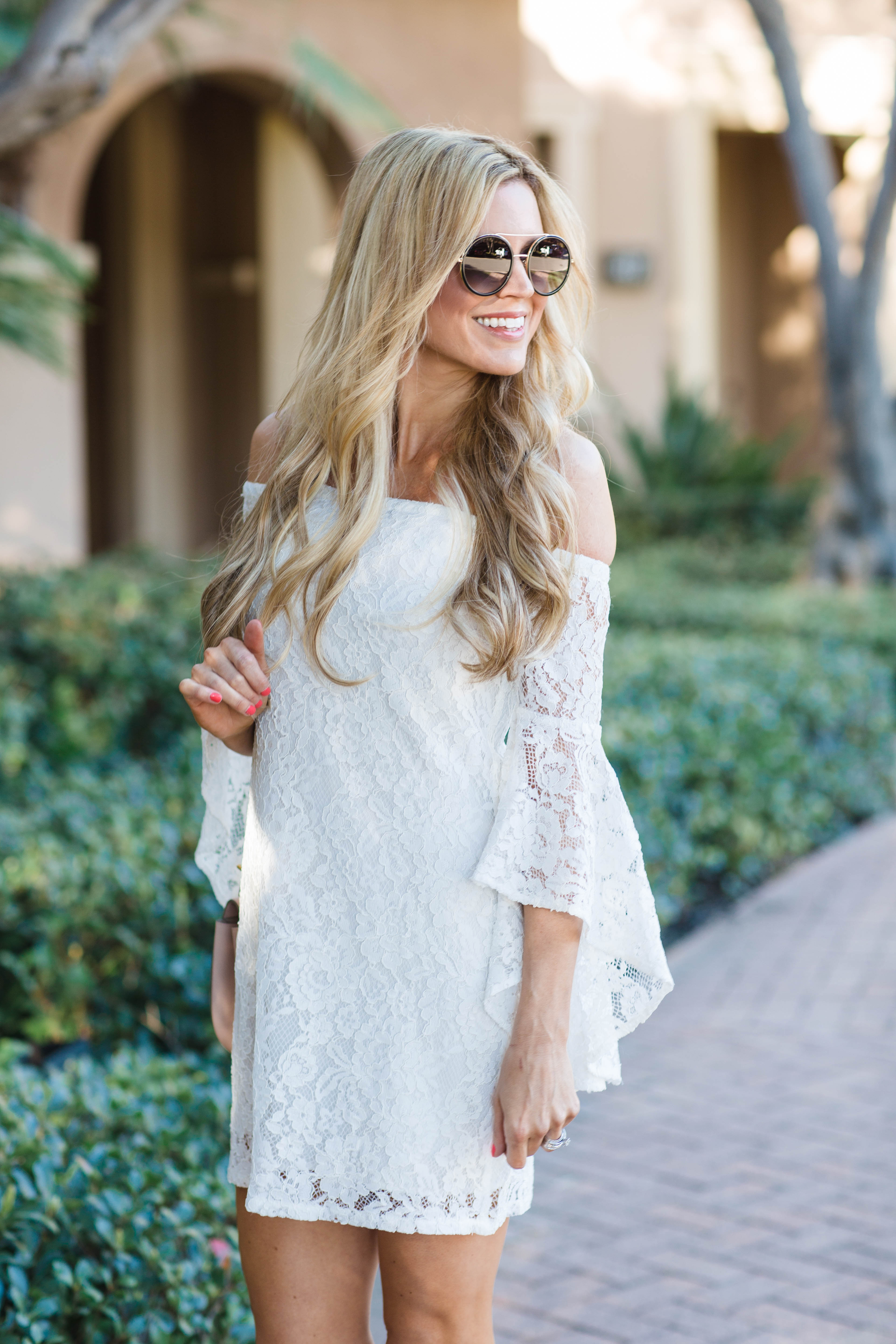 White Lace Bell Sleeves Dress