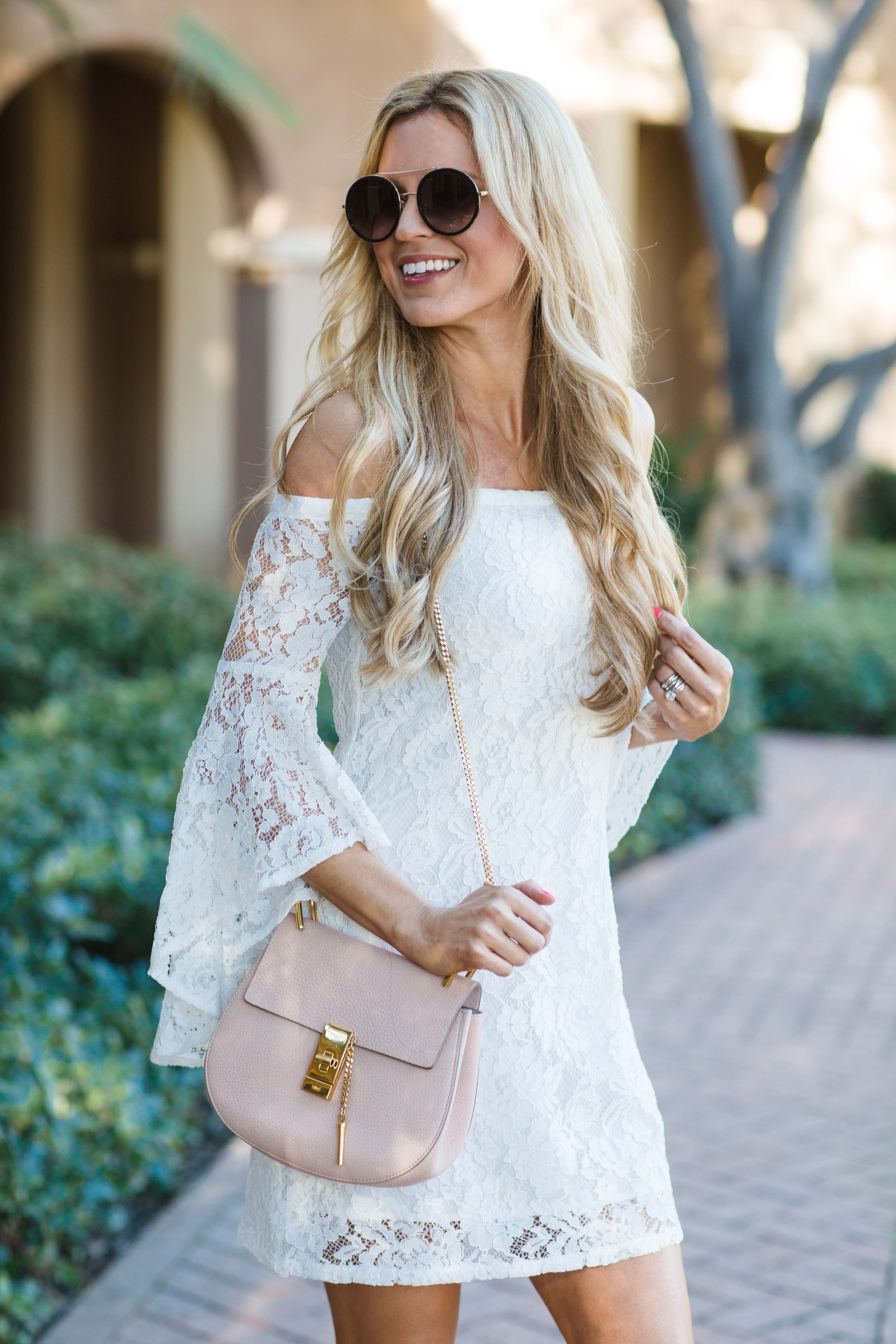 WAYF White Off Shoulder Lace Bell Sleeve Dress