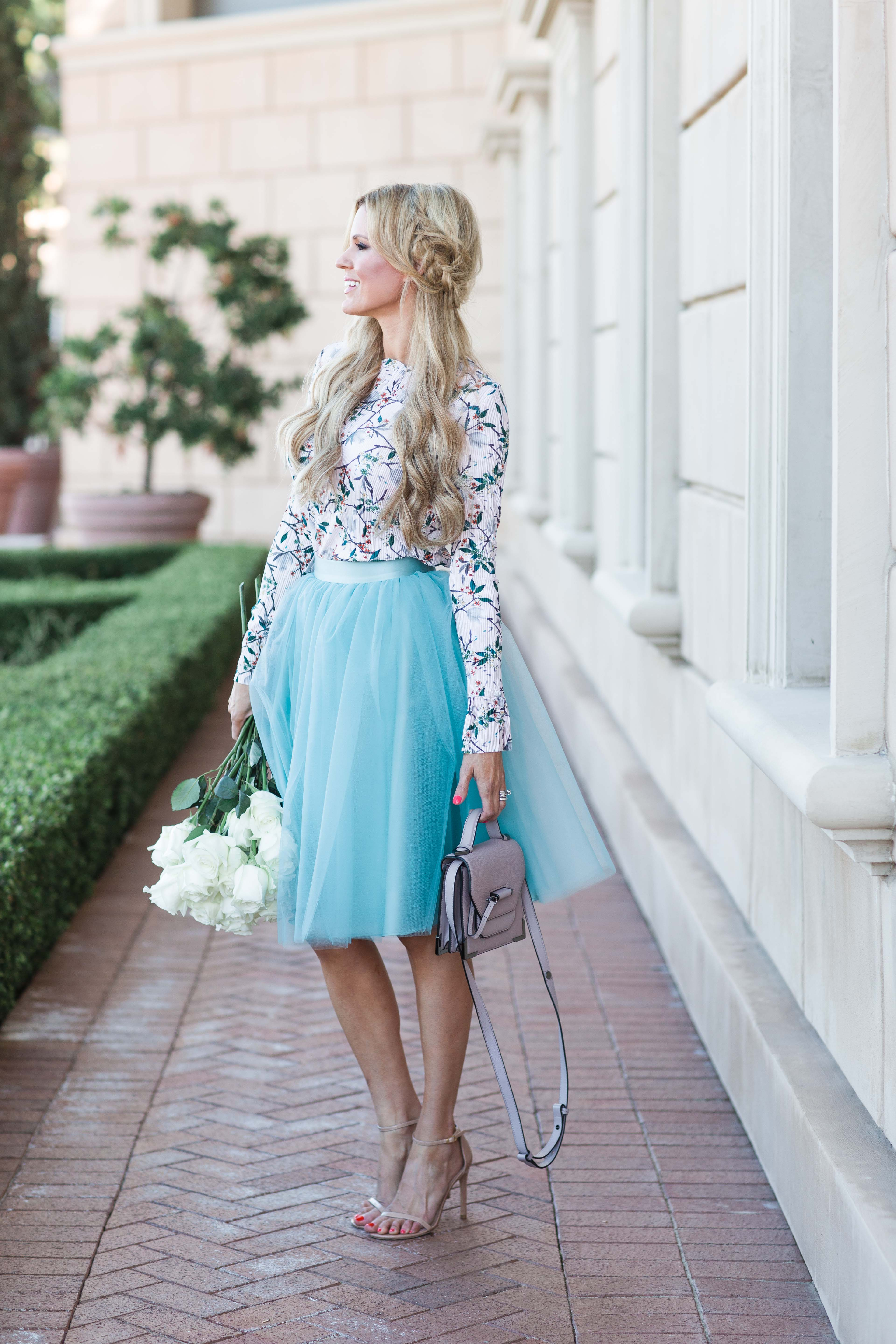 Floral Print Tulle Skirt