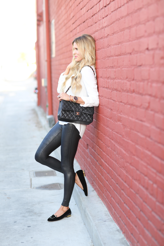 White Top & Leather Leggings | Sapphire Diaries
