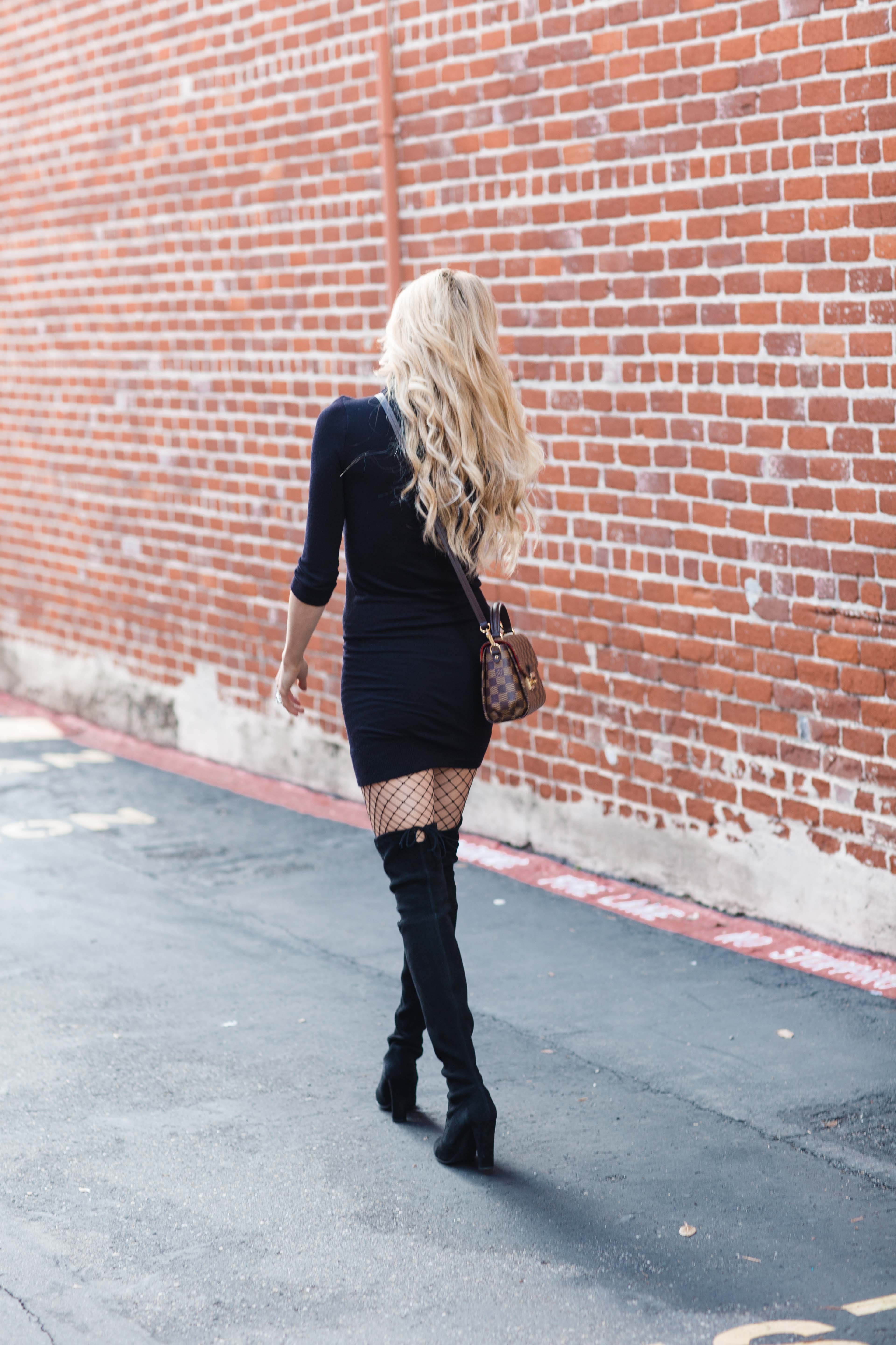 Black Dress Fishnet Tights Over Knee Boots