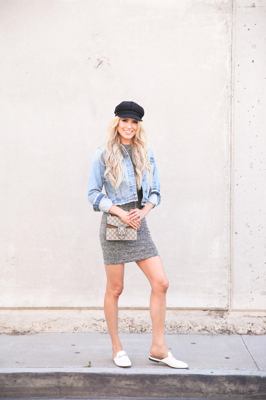 5461e45c765bb6 Dress: Sweeter Sweater Dress under $100! (wearing a size 4) | Jacket: Crop  Denim Jacket | Bag: Mini Dionysus GG Supreme Shoulder Bag (obsessed with  this ...